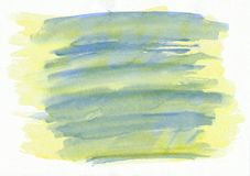 Blaue und gelbe horizontale gezeichneter Hintergrund des Aquarells Hand Schöne Anschläge des Pinsels Vektor Abbildung