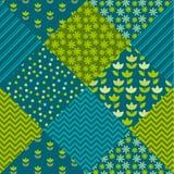 Blaue und grüne Farbtulpenblume und Geometriemotivpatchwork lizenzfreie abbildung