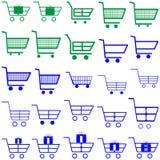 Blaue und grüne Warenkörbe - Ikonen Stockbild