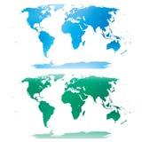 Blaue und grüne Weltkarte Stockbilder