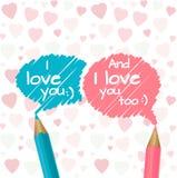 Blaue und rosa Bleistifte stock abbildung