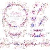 Blaue und rosa Blumensträuße des Blumenfrühlinges, Ring und Gurt Cliparts für Heiratsdesign, künstlerische Schaffen Stockfotografie