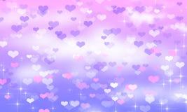 Blaue und rosa Herzen, bokeh, blau, blau, weiß, Wolken, Valentinsgruß, Feiertag, Romanze stock abbildung