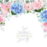 Blaue und rosa Hortensie, stieg, Ranunculus, Gartennelkenblumen vektor abbildung