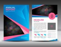 Blaue und rosa Jahresberichtschablone, Abdeckungsdesign, Broschürenflieger Stockbild