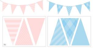Blaue und rosa Parteifahnenflagge f?r Babyparty, Geburtstag, Muttertag, Kindtaufe stock abbildung