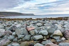 Blaue und rosa Steine auf der Küste des Barentssees, Varanger-Halbinsel, Finnmark, Norwegen Stockfotografie