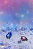 Blaue und rosafarbene Diamanttropfen Stockfotografie