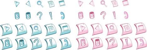 Blaue und rosafarbene Ikonen stellten 1 ein stock abbildung