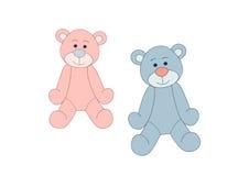 Blaue und rosafarbene Teddybären Stockfotos