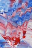 Blaue und rote Acrylmalerei Stockbild