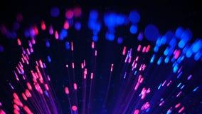 Blaue und rote fiberoptische Lichter und Partikel Lizenzfreie Stockfotos
