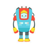 Blaue und rote riesige freundliche Android-Roboter-Charakter-Vektor-Karikatur-Illustration Lizenzfreies Stockbild