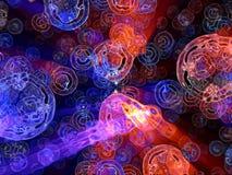 Blaue und rote verzerrte globale Partikel der Fantasie Stockbild