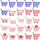 Blaue und rote Warenkörbe - Satz Stockfoto