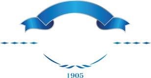 Blaue und silberne elegante Bandfahne Vektorlogoschablone Stockbilder