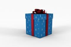 Blaue und silberne Geschenkbox Lizenzfreie Stockfotografie