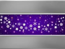 Blaue und silberne Weihnachtskarte Stockbild