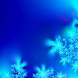 Blaue und weiße abstrakte Schneeflocke-Hintergrundschablone Stockbilder