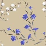 Blaue und weiße Blumen des nahtlosen Musters auf einem Sendung färben Hintergrund Lizenzfreies Stockfoto