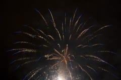 Blaue und weiße Feuerwerke Stockfotos