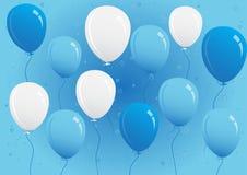 Blaue und weiße Partei steigt Vektor-Illustration im Ballon auf lizenzfreies stockfoto