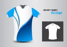 Blaue und weiße Sporthemd-Designvektorillustration, Uniformde Stockfotografie