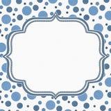 Blaue und weiße Polka Dot Frame Background Stockfoto
