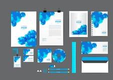 Blaue Unternehmensidentitä5sschablone des Aquarells für Ihr Geschäft Lizenzfreie Stockfotos