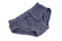 Blaue Unterwäsche lokalisiert auf Weiß Lizenzfreie Stockfotografie