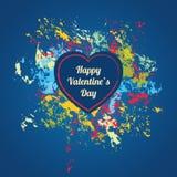 Blaue Valentinsgrußtageskarte mit buntem spritzt Stockbilder