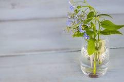 Blaue Vergissmeinnichte in einem transparenten Vase auf einem hölzernen Hintergrund Lizenzfreies Stockfoto