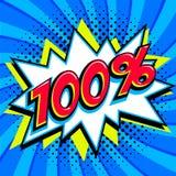 Blaue Verkaufsnetzfahne Prozent 100 des Verkaufs hundert weg auf einer Comicspop-arten-Art-Knallform auf blauem verdrehtem Hinter lizenzfreie abbildung