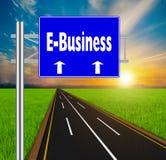 Blaue Verkehrsschild-Konzept E-Business auf weicher Naturlandschaftsrückseite Stockbilder