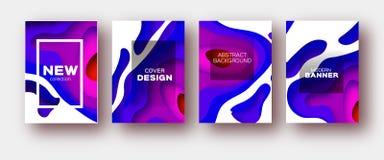 Blaue Violet Paper Cut Wave Shapes Überlagerter Kurve Origami entwirft für Geschäftsdarstellungen, Flieger, Poster Satz von 4 Stockfotos