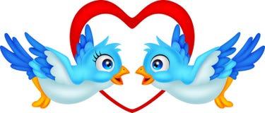 Blaue Vogelkarikaturpaare Lizenzfreie Stockfotos
