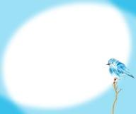 Blaue Vogelwasserfarbzeichnungsillustration auf blauer Hintergrundrahmengrenze Stockfotos
