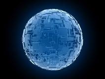 Blaue Würfel der blauen ausländischen Fantasie in globalem arrangemen Stockfotos