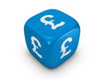Blaue Würfel mit Poundzeichen Stockfoto