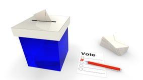 Blaue Wahlurne mit Umschlag Lizenzfreie Stockfotos