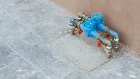 Blaue Wasserzähler crose Abdeckung Lizenzfreies Stockfoto