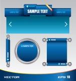 Blaue Web-Schablone und Markenstab Stock Abbildung