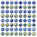 Blaue Web-Tasten mit verschiedenen Symbolen Stockbilder