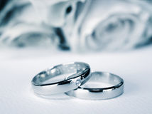 Blaue weddingrings Stockbild