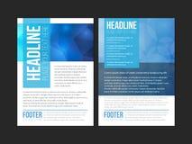Blaue weiße Broschüren-Broschüren-Fliegerschablone, Bucheinband, Darstellungsschablonen Lizenzfreie Stockfotos