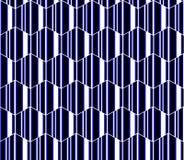 Blaue, weiße und schwarze gestreifte Hexagone, nahtloses Muster der Bienenwabe, moderner Vektorhintergrund Stockbild