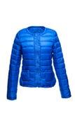 Blaue weibliche warme Jacke Stockfotografie