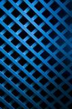 Blaue weiche Leuchte auf geometrischer hölzerner Kunst Stockfoto