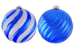 Blaue Weihnachtsbälle Stockfotografie
