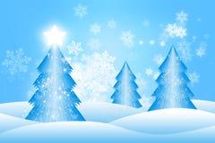 Blaue Weihnachtsbäume Stockfotos